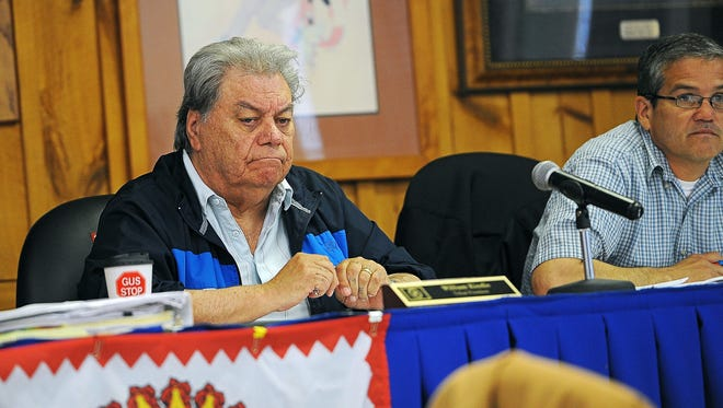 William Kindle, Rosebud Sioux Tribal President, looks on during a Rosebud Sioux Tribal Council meeting Wednesday, April 27, 2016, at the Rosebud Sioux Tribe headquarters in Rosebud, S.D.