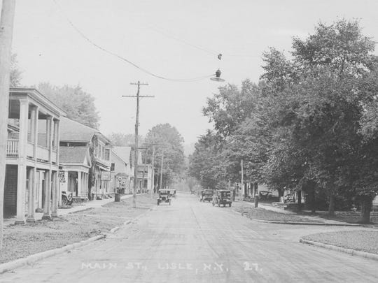Main Street in the village of Lisle, around 1925.
