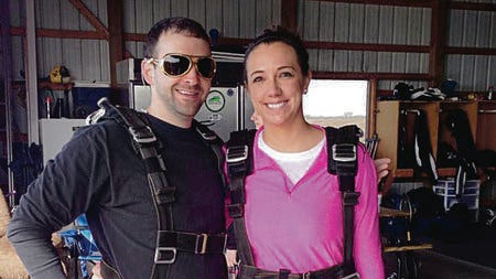 """Justin Michael and his fiance, Angie Ver Huel, recently went skydiving. """"I was scared to death, and he was so excited,"""" Ver Huel said."""