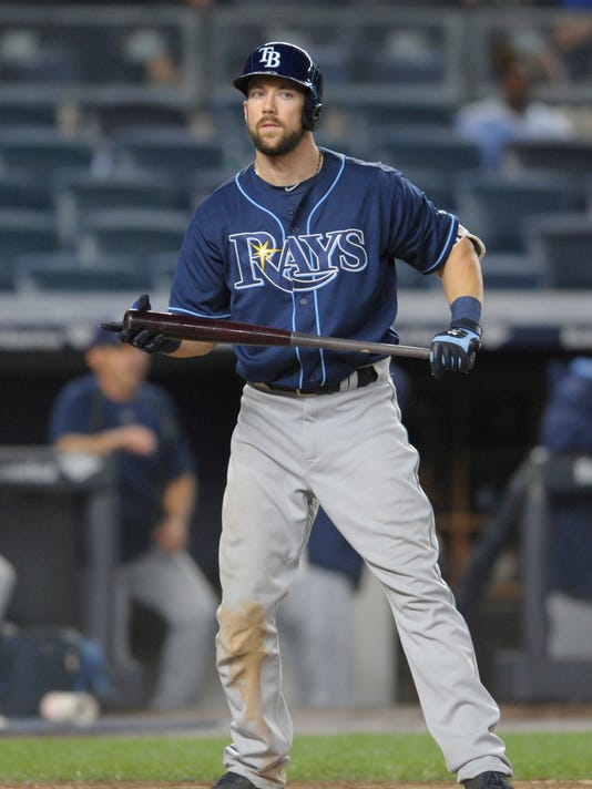 Tampa Bay Rays' Steven Souza Jr. reacts after striking out to end the baseball game, as the New York Yankees defeated the Rays 7-5 early Saturday, Sept. 10, 2016, at Yankee Stadium in New York. (AP Photo/Bill Kostroun)