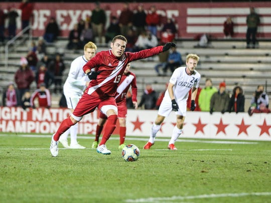 IU's Francesco Moore converts a penalty kick for the
