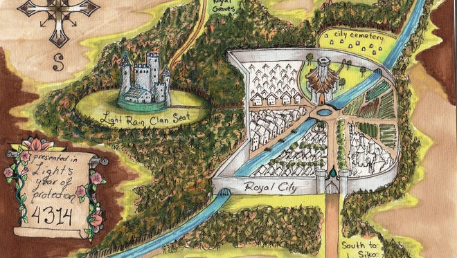 """""""Light Rain Clan Royal City Map"""" by Taima Kern is one of the pieces in her exhibit, """"A Novel in a State of Undress"""" on display at the Fond du Lac Public Library's Langdon Divers Gallery from Sept. 7 through Oct. 4."""