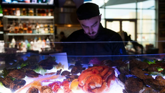 Fresh seafood at the raw bar at Chesapeake's on Parkside Drive.