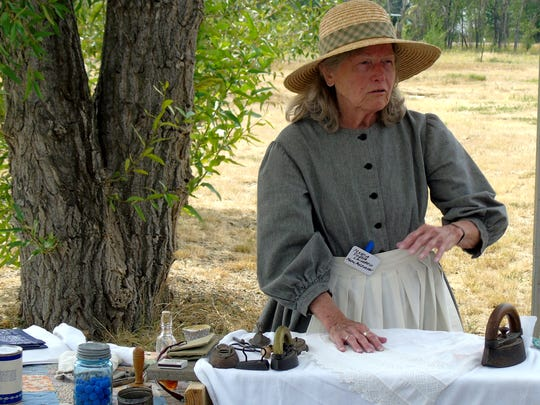 Mary McLennon as Marcia Porter, a laundress at Fort Shaw. Ten members of the McLennon family were part of Fort Shaw's military history.