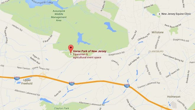The location of the Horse Park of New Jersey in Upper Freehold Township.