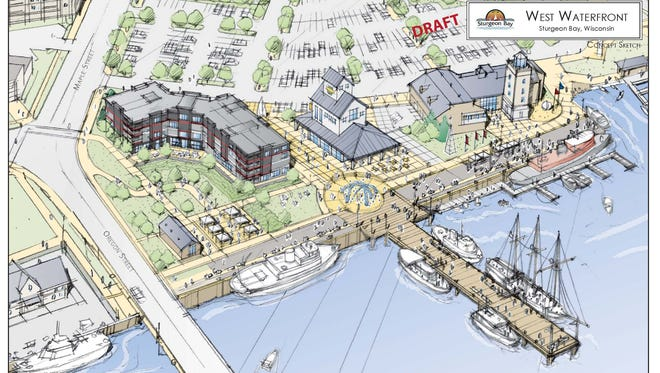 This drawing depicts the proposed Sturgeon Bay waterfront redevelopment that was withdrawn after it became the subject of a lawsuit. A new plan for the site will be developed and ideas, thoughts and opinions from community members are sought during two public meetings Jan. 22 and Jan. 23.