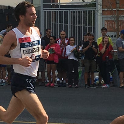 Mt. Morris native Tim Chichester at mile 9 of the Olympic