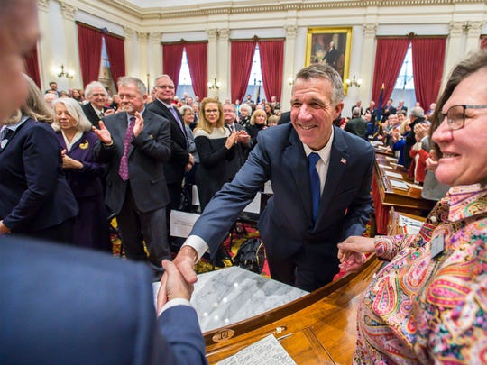Governor Phil Scott leaves the House of Representatives' chamber after delivering his inaugural address at the Statehouse in Montpelier on Thursday, January 5, 2017
