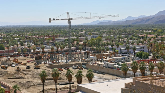 The construction site in  downtown Palm Springs in mid-February. The development will bring acres of new hotel, restaurant, shopping and parking uses to Palm Springs.