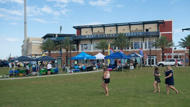 University of West Florida holds it first tailgating party at the Community Maritime Park before the start of Saturday's first Argo home game.