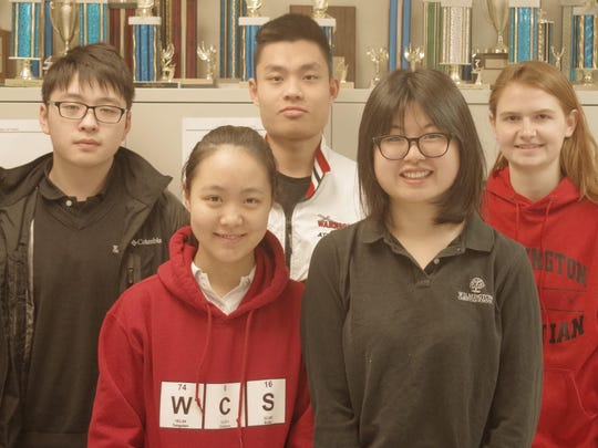 The Wilmington Christian Math League team includes, from left, front row, Kira Guo and Tiffany Lu; back row, Richard Zhang, Patrick Ou and Sarah McNeill.