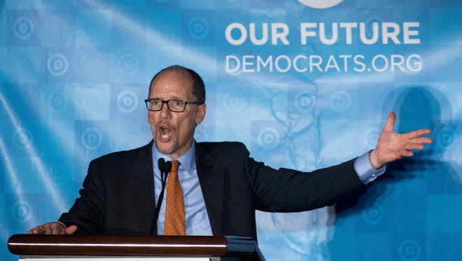 Newly elected Democratic National Committee Chairman Tom Perez gives a victory speech during the general session of the DNC winter meeting in Atlanta on Feb. 25, 2017.
