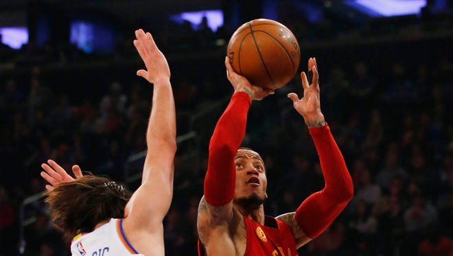 Indiana Pacers guard Monta Ellis drives to the basket against New York Knicks guard Sasha Vujacic (18) during the first half Sunday, April 3, 2016, at Madison Square Garden.