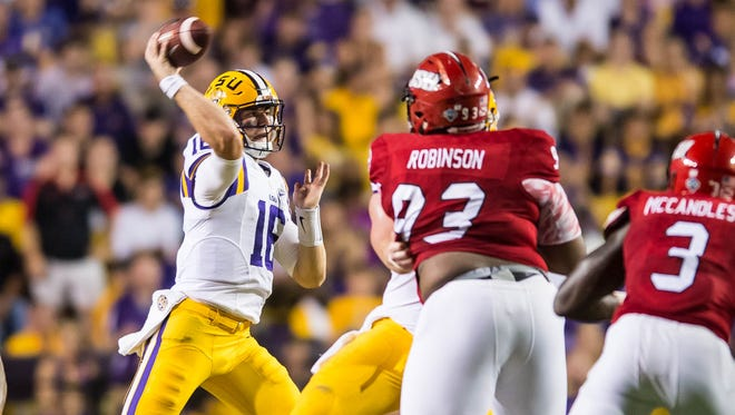 LSU quarterback Danny Etling in for Brandon Harris during the first half of a non SEC game between Jacksonville State and the LSU Tigers in Death Valley on Saturday, Sept. 10, 2016.