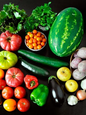 Roughly clockwise, from bottom left: Tomatoes, lettuce, cilantro, sun gold tomatoes, watermelon, potatoes, Asian pears, onions, garlic, eggplant, bell peppers, zucchini and cucumber. Photo by Chris Dunn.