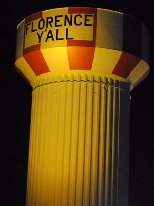 The Florence Y'all water tower along Interstate 71/75 was illuminated orange on April 11 to show support of work zone safety.