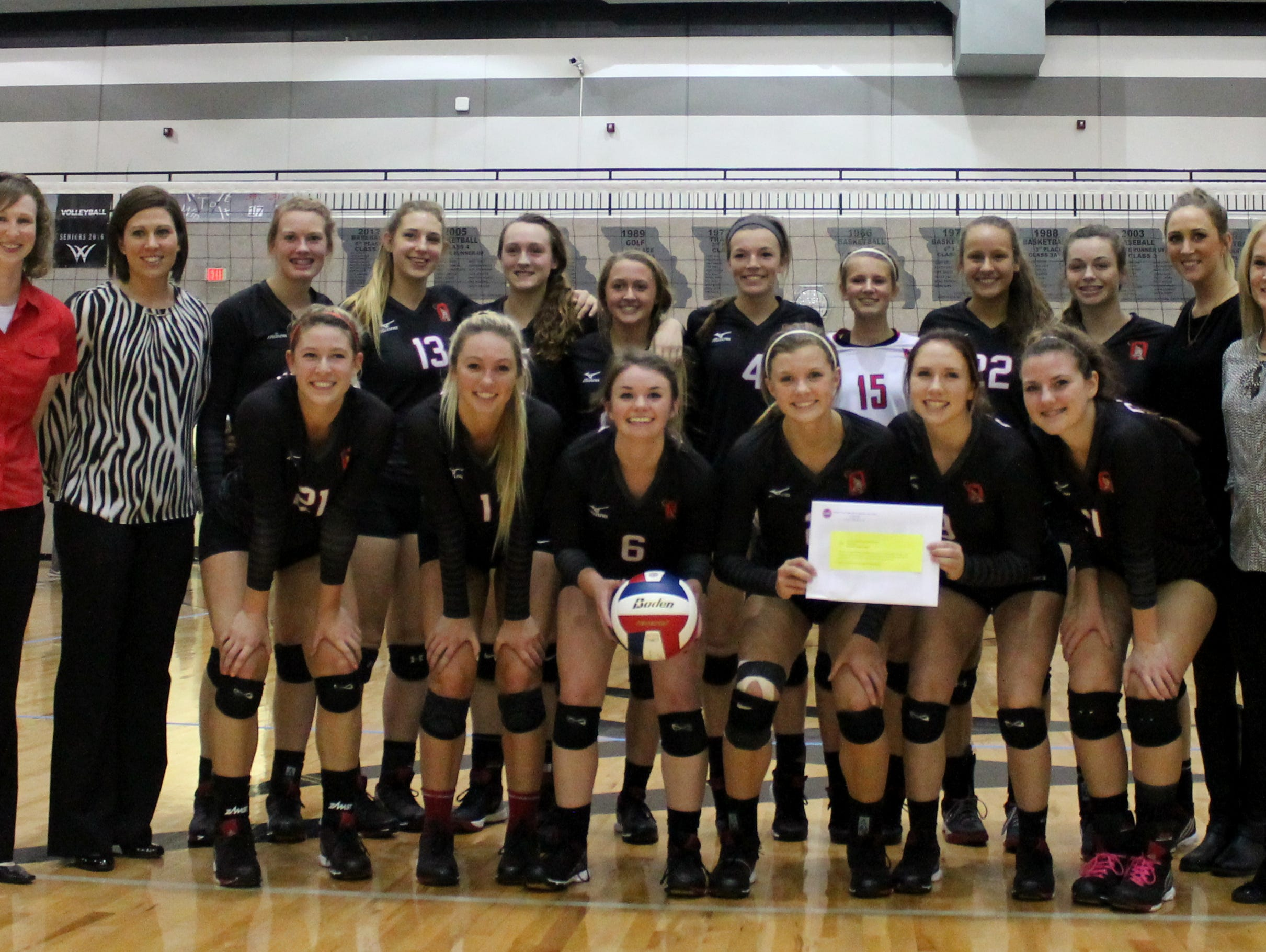 The Ozark High School volleyball team qualified for its sixth consecutive final four by beating Willard two sets to one Saturday, Oct. 24, 2015.