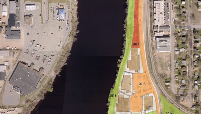 A partial map of Wausau's east riverfront and the phases of redevelopment for that area. The space in red, labeled 2017, is slated to become a park.