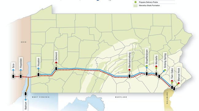 The Mariner East pipeline project routes ethane and propane from Ohio, West Virginia and western Pennsylvania to a processing station in Marcus Hook.
