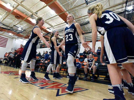 Marysville Vikings' Hannah Delor is introduced Monday,