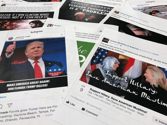 This Nov. 1, 2017 file photo shows printouts of some of the Facebook and Instagram ads linked to a Russian effort to disrupt the American political process and stir up tensions around divisive social issues, released by members of the U.S. House Intelligence committee, photographed in Washington.