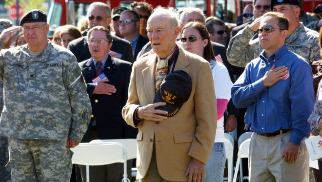 Former governor, Lt. governor, attorney general and family court judge David Buckson is shown in this file photo among dignitaries attending official sendoff Friday, Oct. 3, 2008, for the Delaware National Guard's 261st Signal Brigade deployment to Iraq.  Buckson also founded Dover Downs.