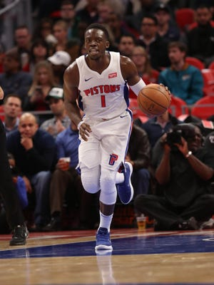 Reggie Jackson dribbles up the court against the Milwaukee Bucks  in the first quarter of the Pistons' 105-96 win Friday, Nov. 3, 2017 at Little Caesars Arena.