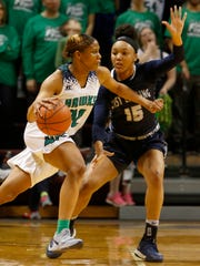 Saginaw Heritage's Shine Strickland-Gills drives as East Lansing's Jaida Hampton defends during the second half of Heritage's 57-36 win in the Class A state final on Saturday, March 17, 2018, in Grand Rapids.
