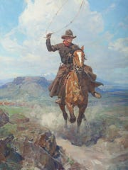 Cowboy with Lasso on Horse