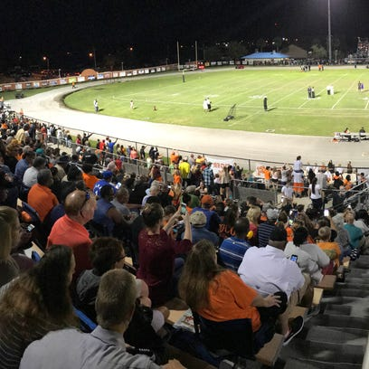 The stands are full of fans during a game between Cocoa