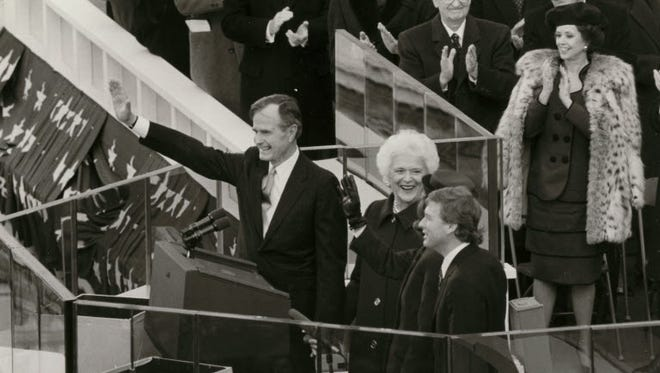 """President George H.W. Bush introduces his """"Thousand Points of Light"""" program in his inaugural address in Washington, January 1989."""