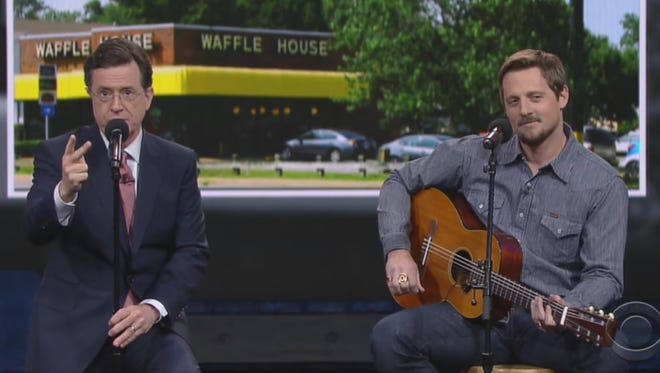 """Stephen Colbert and Sturgill Simpson perform on """"The Late Show with Stephen Colbert."""""""
