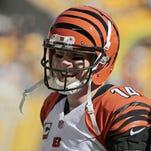 Bengals quarterback Andy Dalton wraps up warmups.