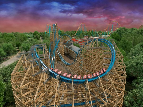 Artist rendering of the Twisted Cyclone at the Six