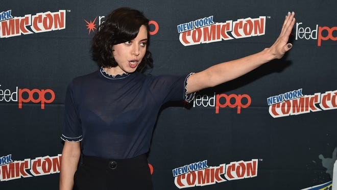 "Aubrey Plaza attends FX Network's ""Legion"" press room during New York Comic Con in October."