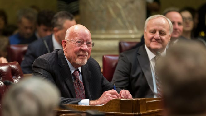 Wisconsin Sen. Fred Risser (D-Madison) (left) is acknowledged as the longest serving Legislator in the nation during the swearing in ceremony of the 103rd opening session of the Wisconsin State Senate on Jan. 3, 2017, in Madison.
