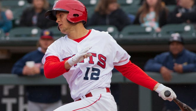 Louisville Bats second baseman Nick Senzell hits the ball at his first at bat. He's new to the Bats this year and is 7th ranked prospect in baseball according to Baseball America. April 06, 2018