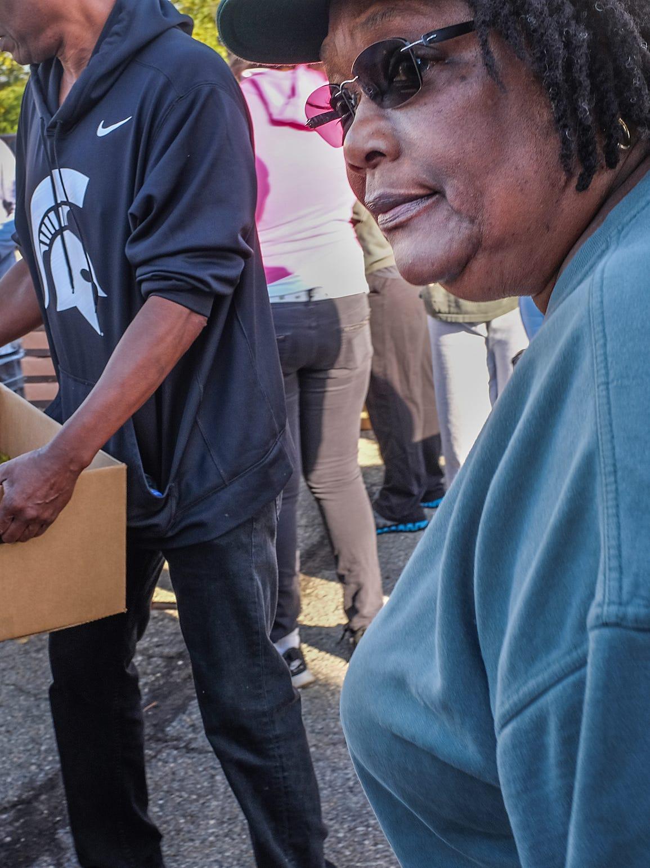 Joan Jackson Johnson works at the Mobile Food Pantry,