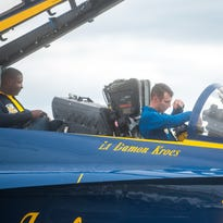 First Blue Angels jet lands in Millville