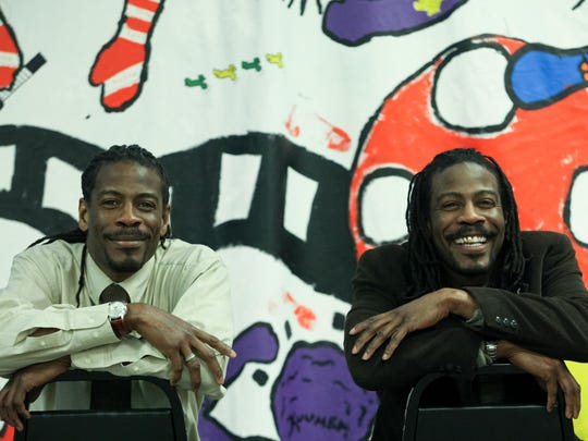 Twin Poets Nnamdi Chukwuocha, left, and Albert Mills