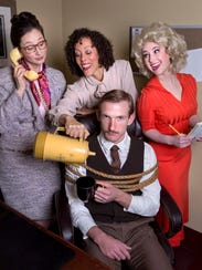 "The cast of ""9 to 5"" at Asheville Community Theatre."