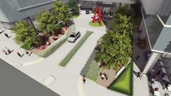 A conceptual rendering of the plaza planned as part