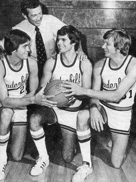 The Vanderbilt F-Troop included, from left, Jeff Fosnes, Joe Ford and Butch Feher. The three players are pictured here with former Vanderbilt coach Roy Skinner.