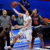 McQuaid's season ends on business end of boys basketball Class AA state semifinal