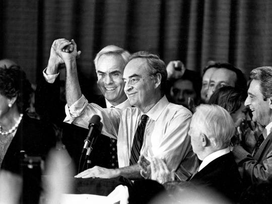 In this Nov. 11, 1991, photo, newly elected Sen. Harris Wofford, D-Pa., is congratulated by Pennsylvania Gov. Bob Casey after defeating Republican Dick Thornburgh in a U.S. Senate election in Philadelphia. Former Pennsylvania Sen. Harris Wofford died in the hospital late Monday night, Jan. 21, 2019, of complications from a fall Saturday in his Washington apartment, his son, Daniel Wofford, said. He was 92. (Robin Rombach/Pittsburgh Post-Gazette via AP)