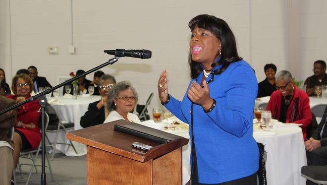 U.S. Rep. Terri Sewell addresses hometown friends Saturday during a visit to promote support for a civil rights consortium. Alvin Benn/Special to the Advertiser