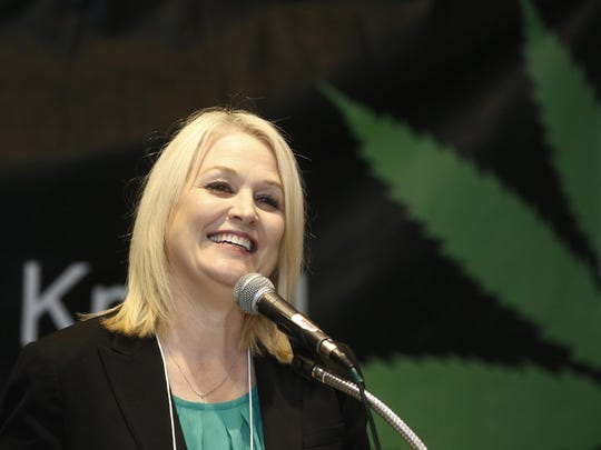 California's top pot regulator, Lori Ajax, addresses an industry group meeting in Long Beach in 2017. A Finance Department audit in early July finds that about two-thirds of the Bureau of Cannabis Control's authorized positions remain unfilled.