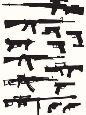 A collection of weapon silhouettes.