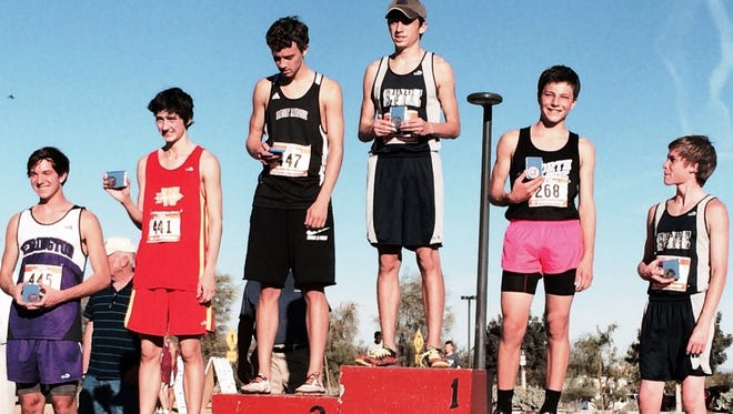 Lyon County runners took three of the top five places in last Saturday?s NIAA Division III/IV state boys cross country race, including Trevor Martin of Silver Stage (right), fifth place; champion Brandon Perez (top), Silver Stage; and Brandon Chico, Yerington (left), sixth place finisher.