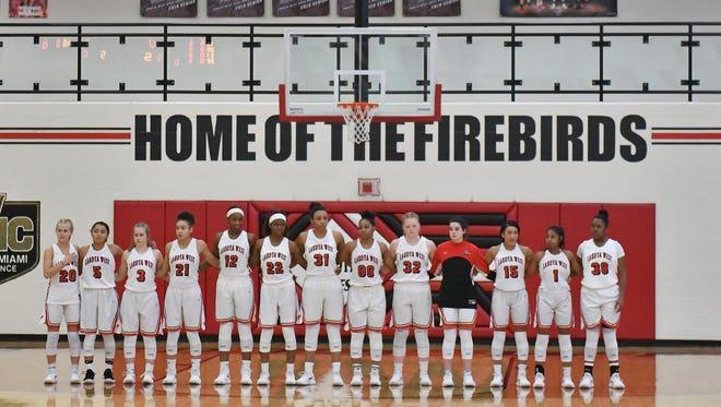 The Lakota West Firebirds, prior to tip-off against Hamilton Wednesday, January 31st at Lakota West High School